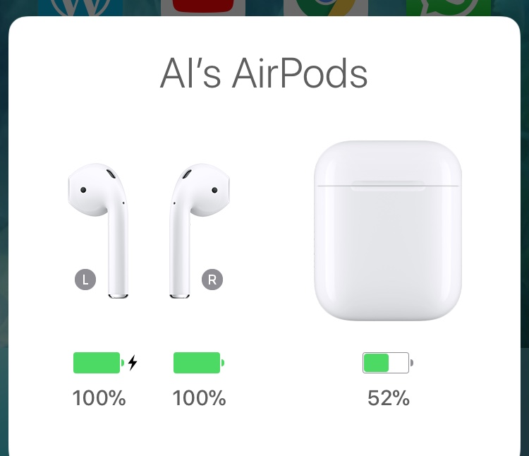 AirPods battery status