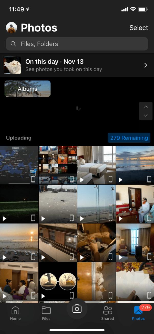 onedrive uploading photos on iphone